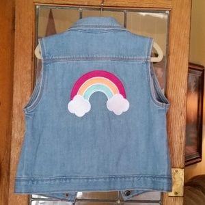 NEW Gynboree Denim Vest with Rainbow
